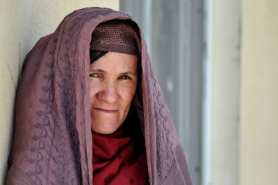 Afghan woman, who endearingly insisted on not having her picture taken until she had pulled up her burkha
